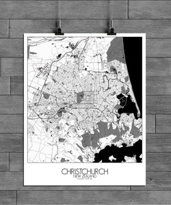 Mapospheres Christchurch Black and White full page design poster city map