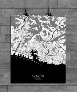 Mapospheres Genoa Black and White full page design poster city map