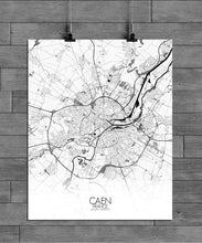 Load image into Gallery viewer, Mapospheres Caen Black and White full page design poster city map