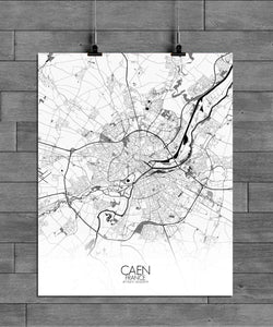 Mapospheres Caen Black and White full page design poster city map