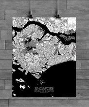 Load image into Gallery viewer, Mapospheres Siingapore Black and White full page design poster city map