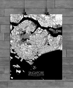 Mapospheres Siingapore Black and White full page design poster city map