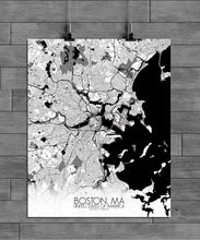 Load image into Gallery viewer, Mapospheres Boston Black and White full page design poster city map
