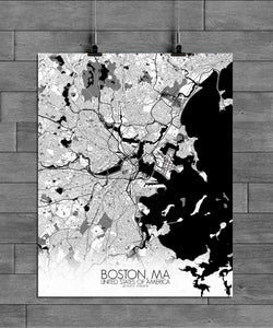 Mapospheres Boston Black and White full page design poster city map