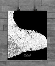 Load image into Gallery viewer, Mapospheres Moule Black and White full page design poster city map