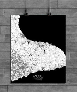 Mapospheres Moule Black and White full page design poster city map