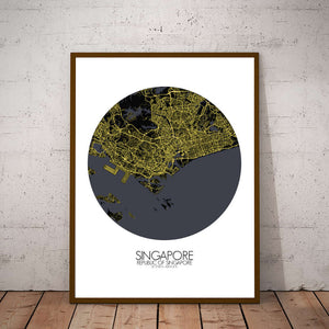Mapospheres Siingapore Night round shape design poster city map