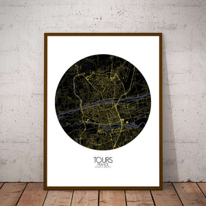 Mapospheres Tours Night round shape design poster city map