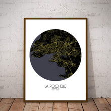 Load image into Gallery viewer, Mapospheres La Rochelle Night round shape design poster city map