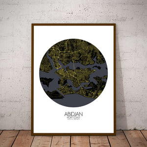 Mapospheres Abidjan Night round shape design poster city map