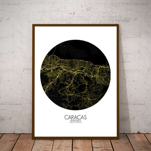 Mapospheres Caracas Night round shape design poster city map