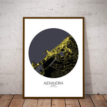 Load image into Gallery viewer, Mapospheres Alexandria Night round shape design poster city map
