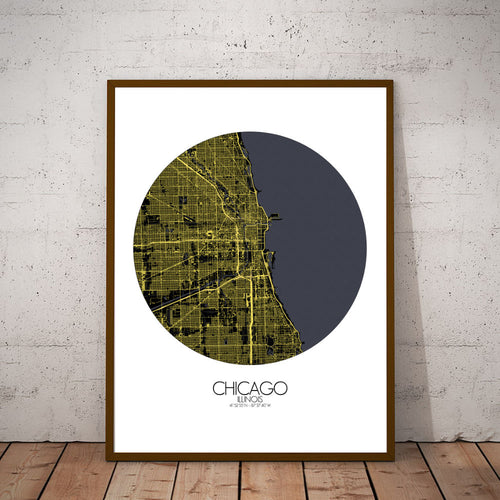 Mapospheres Chicago Night round shape design canvas city map