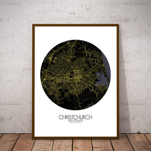 Mapospheres Christchurch Night round shape design poster city map