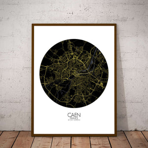 Mapospheres Caen Night round shape design poster city map