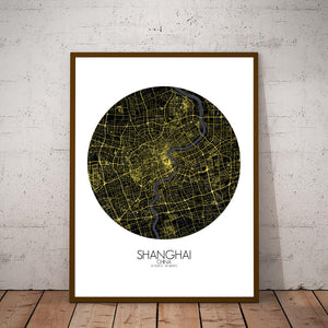 Mapospheres Shanghai Night round shape design poster city map