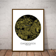 Load image into Gallery viewer, Mapospheres Ouagadougou Night round shape design poster city map