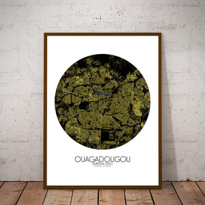 Mapospheres Ouagadougou Night round shape design poster city map