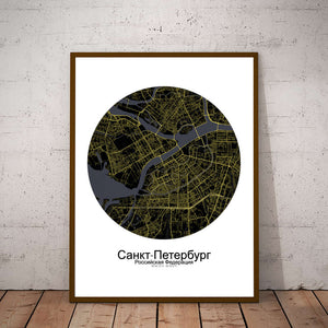 Mapospheres Saint Petersburg Night Design round shape design poster city map
