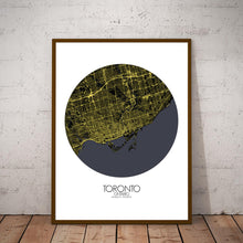Load image into Gallery viewer, Mapospheres Toronto Night round shape design poster city map