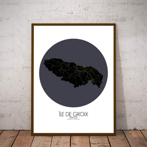 Mapospheres Groix Night round shape design poster city map