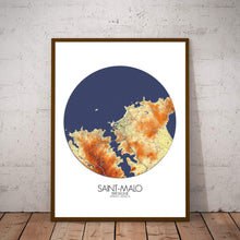 Load image into Gallery viewer, Mapospheres Saint Malo Elevation Map round shape design poster city map