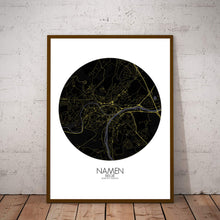 Load image into Gallery viewer, Mapospheres Namur Night round shape design poster city map