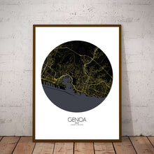 Load image into Gallery viewer, Mapospheres Genoa Night round shape design poster city map