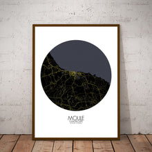 Load image into Gallery viewer, Mapospheres Moule Night round shape design poster city map