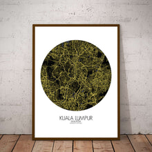 Load image into Gallery viewer, Mapospheres Kuala Lumpur KL Night round shape design poster city map