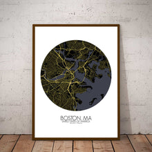 Load image into Gallery viewer, Mapospheres Boston Night round shape design poster city map