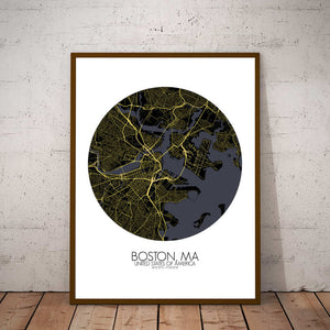 Mapospheres Boston Night round shape design poster city map