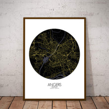 Load image into Gallery viewer, Mapospheres angers Night round shape design poster city map