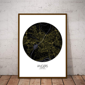 Mapospheres angers Night round shape design poster city map