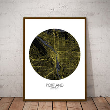 Load image into Gallery viewer, Mapospheres Portland Night round shape design poster city map