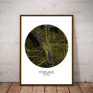 Mapospheres Portland Night round shape design poster city map