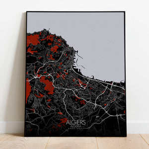 Mapospheres Algiers Red dark full page design canvas city map