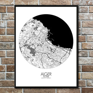 Mapospheres Algiers Black and White round shape design canvas city map
