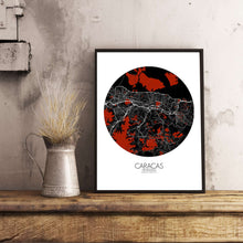 Load image into Gallery viewer, Mapospheres Caracas Red dark round shape design poster city map