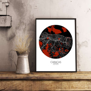 Mapospheres Caracas Red dark round shape design poster city map