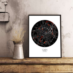 Mapospheres Caen Red dark round shape design poster city map