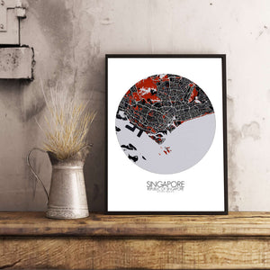 Mapospheres Siingapore Red dark round shape design poster city map