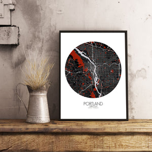 Mapospheres Portland Red dark round shape design poster city map