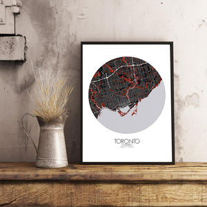 Mapospheres Toronto Red dark round shape design poster city map