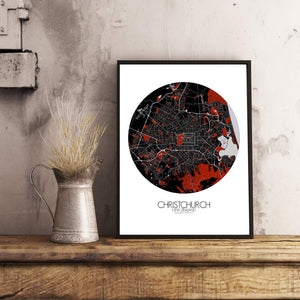 Mapospheres Christchurch Red dark round shape design poster city map