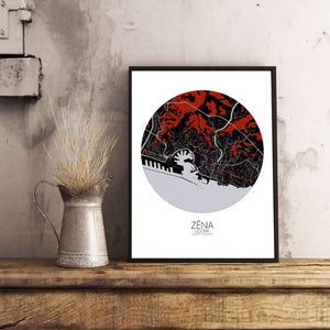 Mapospheres Genoa Red dark round shape design poster city map