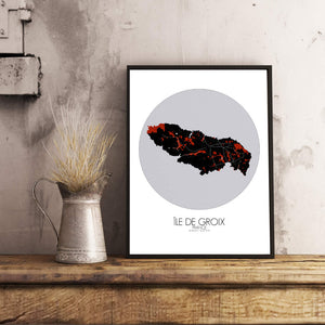 Mapospheres Groix Red dark round shape design poster city map