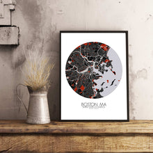 Load image into Gallery viewer, Mapospheres Boston Red dark round shape design poster city map