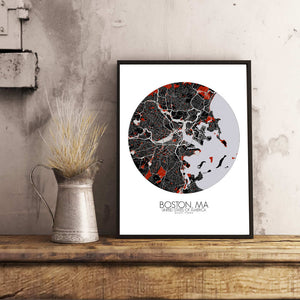 Mapospheres Boston Red dark round shape design poster city map