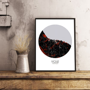 Mapospheres Moule Red dark round shape design poster city map